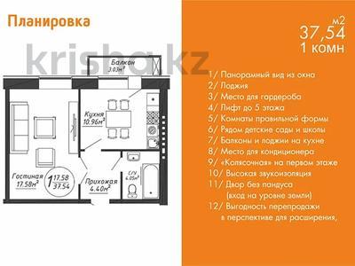 1-комнатная квартира, 37.54 м², Шаймердена Косшыгулулы — Шабал Бейсекова за ~ 11.2 млн 〒 в Нур-Султане (Астана) — фото 2