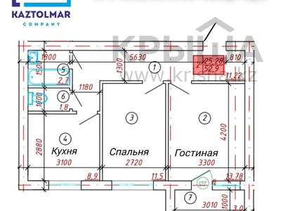 2-комнатная квартира, 53 м², 3/5 этаж, 3-й мкр за 6.3 млн 〒 в Актау, 3-й мкр — фото 5