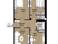 3-комнатная квартира, 85.66 м², 4/9 этаж