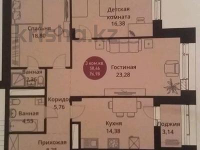 3-комнатная квартира, 97 м², 8/10 этаж, Туран 37/17 — Сагынак за 42.5 млн 〒 в Нур-Султане (Астана), Есиль р-н