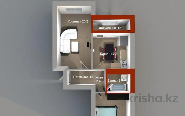 2-комнатная квартира, 59.2 м², Жамбыла — Чингиза Айтматова за ~ 15.4 млн 〒 в Нур-Султане (Астана), Сарыарка р-н
