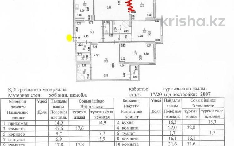 5-комнатная квартира, 194 м², 17/20 этаж, Абая 45/2 за 40 млн 〒 в Нур-Султане (Астана), р-н Байконур