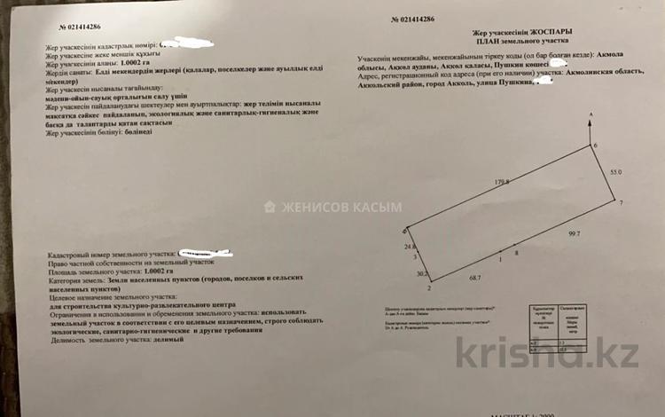 Участок 1 га, Пушкина 175 — Гагарина за 32 млн 〒 в Акколе