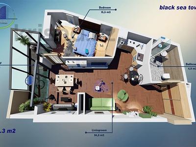 2-комнатная квартира, 64.3 м², J.Shartava street 16 за ~ 15.2 млн 〒 в Батуми