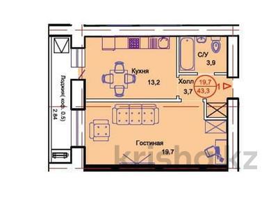 1-комнатная квартира, 43.3 м², Тауелсиздик 34/8 за ~ 13 млн 〒 в Нур-Султане (Астане), Алматы р-н