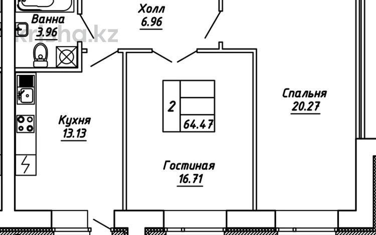 2-комнатная квартира, 64.47 м², 9/10 этаж, Айтматова — Мухамедханова за ~ 18.7 млн 〒 в Нур-Султане (Астана), Есиль р-н