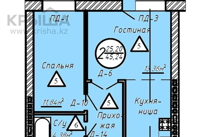 2-комнатная квартира, 45.24 м², 4/10 этаж, 189 улица за 13.5 млн 〒 в Нур-Султане (Астана), Сарыарка р-н