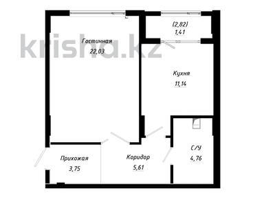 1-комнатная квартира, 49.41 м², Абылхаир хана — Жумагалиева за ~ 15.2 млн 〒 в Атырау — фото 2