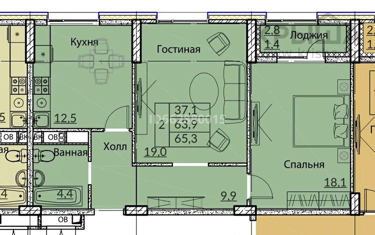 2-комнатная квартира, 65 м², 6/10 этаж, Бокейхана 25 за 22.3 млн 〒 в Нур-Султане (Астана), Есиль р-н