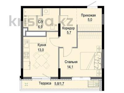 1-комнатная квартира, 48.1 м², Жандосова 94А за ~ 26 млн 〒 в Алматы, Бостандыкский р-н