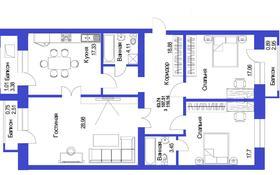 3-комнатная квартира, 110.16 м², 7/8 этаж, Жумагали Тлеулина — Габдуллина за ~ 31.4 млн 〒 в Кокшетау