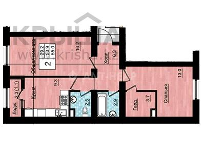 2-комнатная квартира, 55 м², 2/3 этаж, Коргалжынское шоссе 43 — Исатай батыра за 12.1 млн 〒 в Нур-Султане (Астана), Есиль р-н