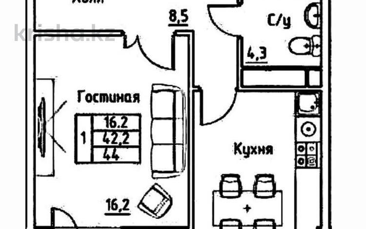 1-комнатная квартира, 44 м², 6/10 этаж, Бокейхана 25 за ~ 12.8 млн 〒 в Нур-Султане (Астана), Есиль р-н