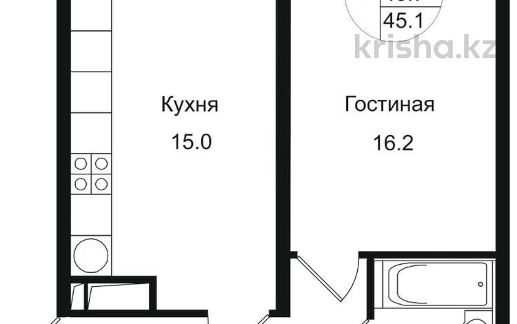 1-комнатная квартира, 45.1 м², 11/12 этаж, Мкр Дарабоз за 15.2 млн 〒 в Алматы, Алатауский р-н