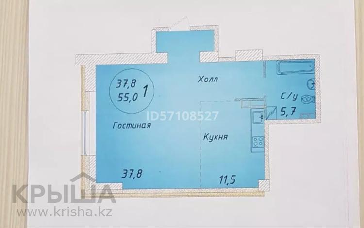 1-комнатная квартира, 55 м², 16/16 этаж, Гагарина 124 — Абая за 25.5 млн 〒 в Алматы, Бостандыкский р-н