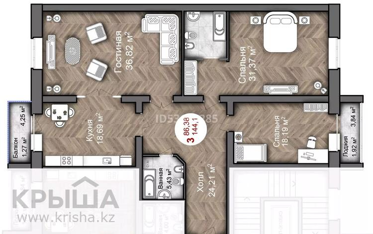 3-комнатная квартира, 144.1 м², 3/5 этаж, мкр. Батыс-2, Батыс 2 участок 11г за ~ 36 млн 〒 в Актобе, мкр. Батыс-2