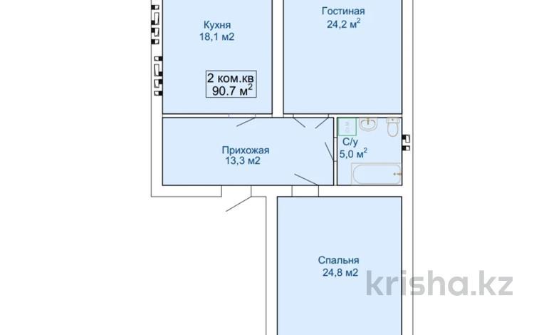 2-комнатная квартира, 90.7 м², Батыс-2 за ~ 11.8 млн 〒 в Актобе, мкр. Батыс-2