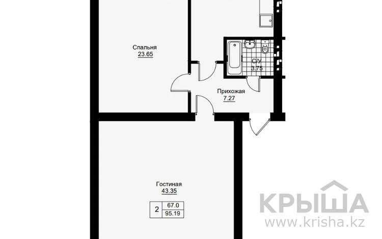2-комнатная квартира, 98.36 м², Батыс-3 за ~ 11.3 млн 〒 в Актобе, мкр. Батыс-2