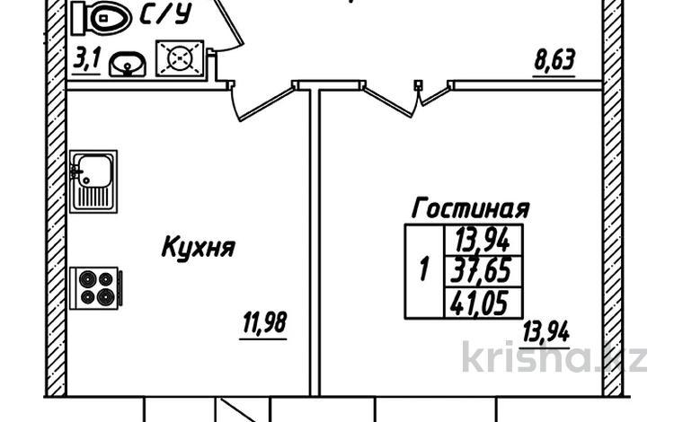 1-комнатная квартира, 41.05 м², 1/10 этаж, Айтматова — Мухамедханова за ~ 11.5 млн 〒 в Нур-Султане (Астана), Есиль р-н
