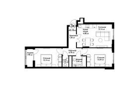 3-комнатная квартира, 63.18 м², Рыскулбекова 29 за ~ 19.1 млн 〒 в Нур-Султане (Астана), Есиль р-н