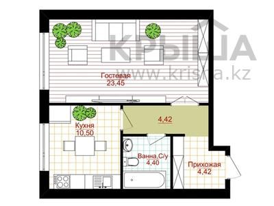 1-комнатная квартира, 47.19 м², 17 микрорайон участок 45/1 за ~ 4.7 млн 〒 в Актау — фото 2