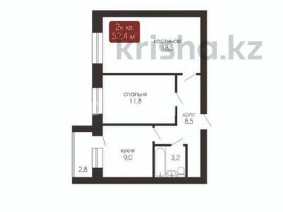 2-комнатная квартира, 52.4 м², 1/5 этаж, Батыс 2 микрорайон 25 за 12.3 млн 〒 в Актобе