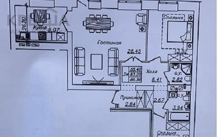 3-комнатная квартира, 86.36 м², 9/10 этаж, К. Мухамедханова 12 за ~ 28.5 млн 〒 в Нур-Султане (Астана), Есиль р-н
