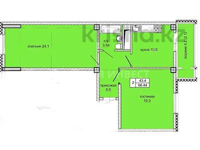 2-комнатная квартира, 66.44 м², 2/10 этаж, Нажимеденова за ~ 16.6 млн 〒 в Нур-Султане (Астана), Алматы р-н — фото 4