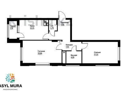 2-комнатная квартира, 68.34 м², 2 этаж, Мухамедханова — 306 за ~ 22.6 млн 〒 в Нур-Султане (Астана), Есиль р-н — фото 6