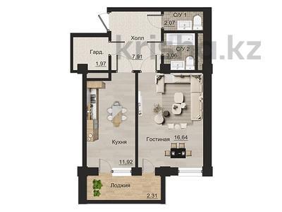 1-комнатная квартира, 45.88 м², мкр Курамыс 78 за ~ 29.8 млн 〒 в Алматы, Наурызбайский р-н