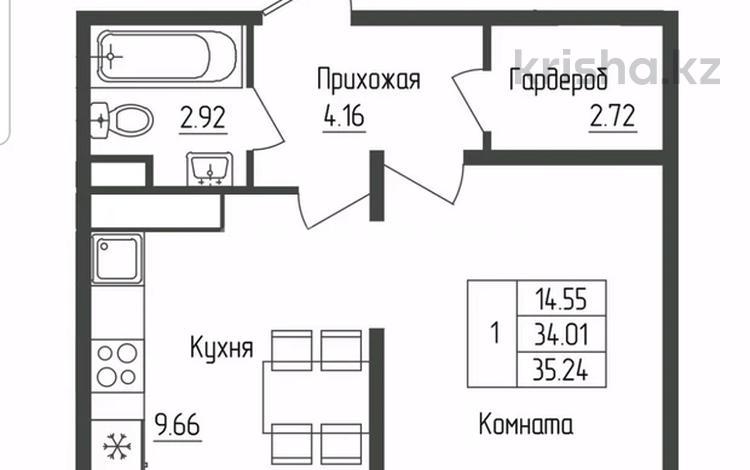1-комнатная квартира, 35.24 м², 7/17 этаж, Туран за ~ 11.9 млн 〒 в Нур-Султане (Астана), Есиль р-н