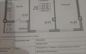 2-комнатная квартира, 64.23 м², 4/12 этаж, Кошкарбаева 48 — Жумабаева за 22.7 млн 〒 в Нур-Султане (Астане), Алматы р-н