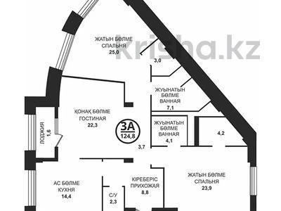 3-комнатная квартира, 128.6 м², 2/8 этаж, Шамши Калдаякова за ~ 48.9 млн 〒 в Нур-Султане (Астана), Алматы р-н — фото 2
