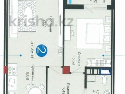 2-комнатная квартира, 57 м², 18/18 этаж, Е-10 17л за 36.5 млн 〒 в Нур-Султане (Астане), Есильский р-н