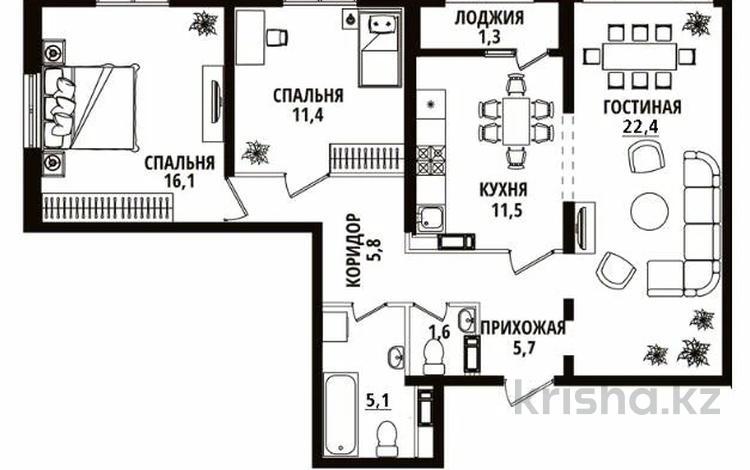 3-комнатная квартира, 82 м², 12/12 этаж, Тажибаевой 1/2 за 44.5 млн 〒 в Алматы, Бостандыкский р-н