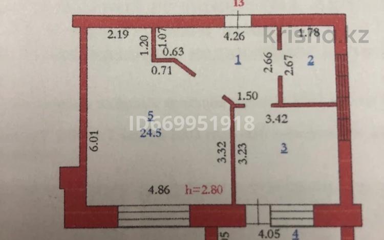 1-комнатная квартира, 51 м², 4/9 этаж, мкр. Батыс-2 21 за 11.5 млн 〒 в Актобе, мкр. Батыс-2