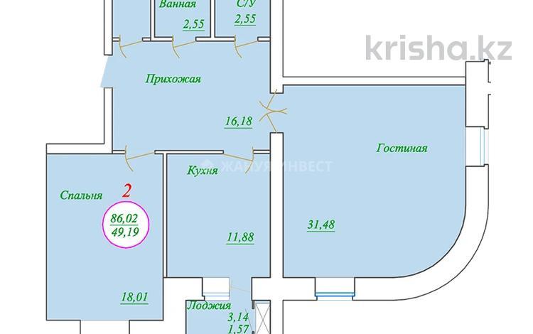 2-комнатная квартира, 86.02 м², 7/7 этаж, Ахмета Байтурсынова за ~ 14.6 млн 〒 в Нур-Султане (Астана), Алматы р-н