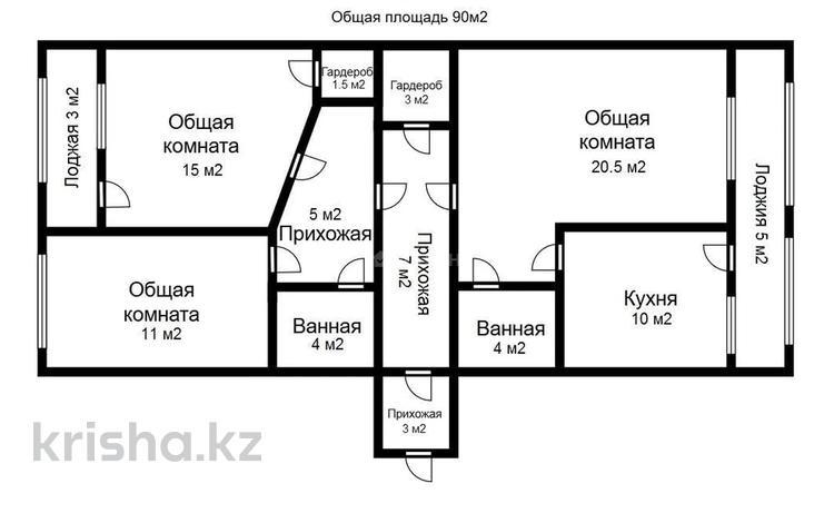 3-комнатная квартира, 92 м², 3/8 этаж, Байтурсынова за 20.7 млн 〒 в Нур-Султане (Астана), Алматы р-н