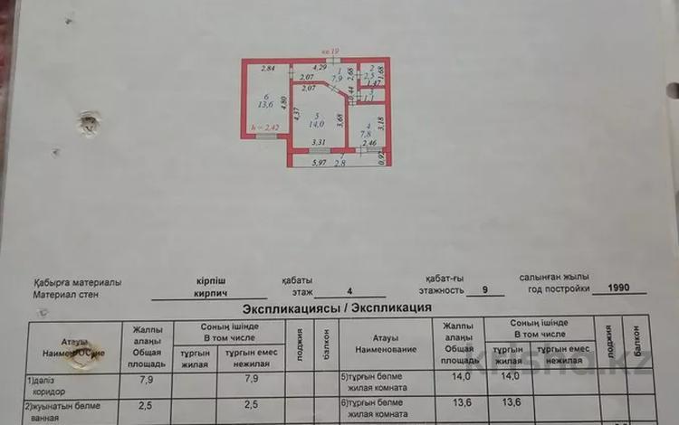 2-комнатная квартира, 49.7 м², 4/9 этаж, Конституции 18(а) — Баисеитова за 16 млн 〒 в Нур-Султане (Астана), Сарыарка р-н