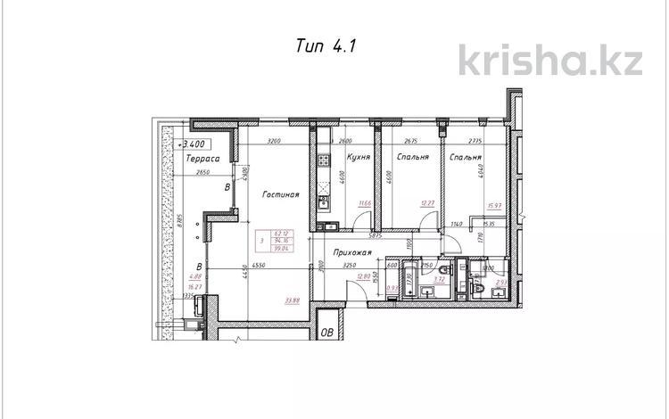 3-комнатная квартира, 100.35 м², 2/16 этаж, Гагарина 233 за ~ 55.2 млн 〒 в Алматы, Бостандыкский р-н