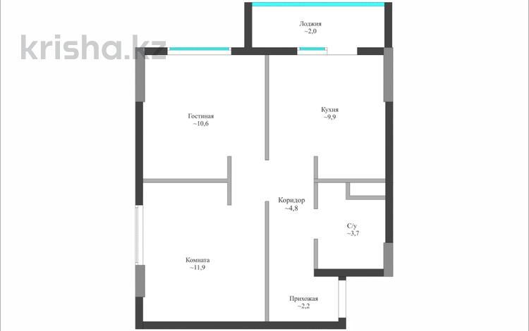 1-комнатная квартира, 45.3 м², 5/9 этаж, Чингиза Айтматова 31 за ~ 11.1 млн 〒 в Нур-Султане (Астана), Есиль р-н