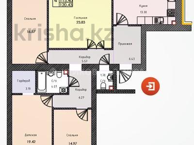 4-комнатная квартира, 119.3 м², 3/10 этаж, Кумисбекова 11 — Джангильдина за ~ 29.5 млн 〒 в Нур-Султане (Астана), Сарыарка р-н