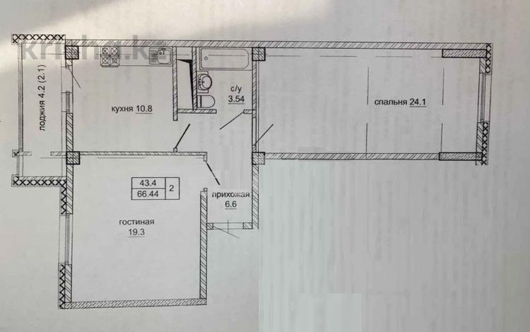 2-комнатная квартира, 66.44 м², 3/9 этаж, Нажимеденова за ~ 14.6 млн 〒 в Нур-Султане (Астана), Алматы р-н