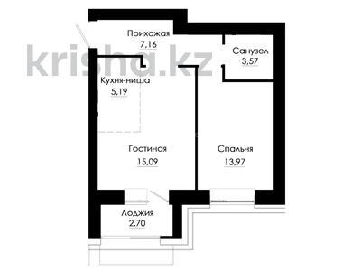 2-комнатная квартира, 47.66 м², 7/9 этаж, Касым Кайсенова — Фариза Онгарсынова за ~ 16.7 млн 〒 в Нур-Султане (Астана), Есиль р-н