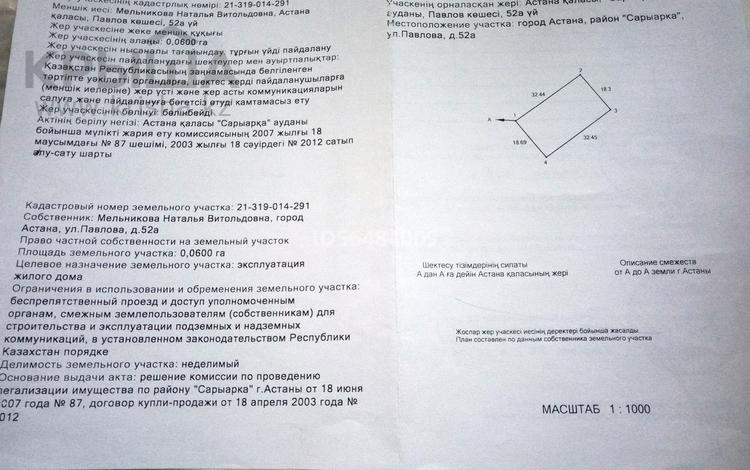 Участок 6 соток, ул. Павлова 52 за 10 млн 〒 в Нур-Султане (Астана), Сарыарка р-н