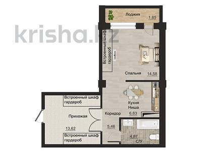 1-комнатная квартира, 47.01 м², мкр Курамыс 78 за ~ 30.6 млн 〒 в Алматы, Наурызбайский р-н