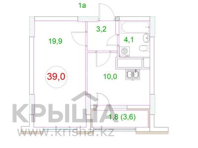 1-комнатная квартира, 40 м², 5/14 этаж, Жанибека Тархана за 13.7 млн 〒 в Нур-Султане (Астана), Алматы р-н — фото 23