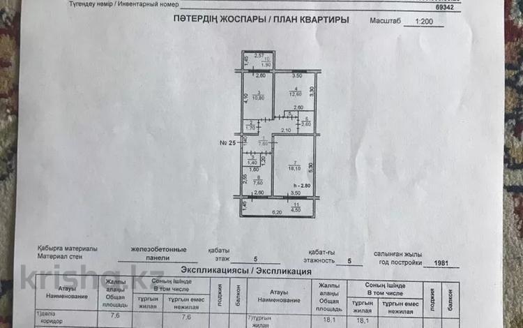 3-комнатная квартира, 69.3 м², 5/5 этаж, 9-36 25 за 9.5 млн 〒 в Таразе