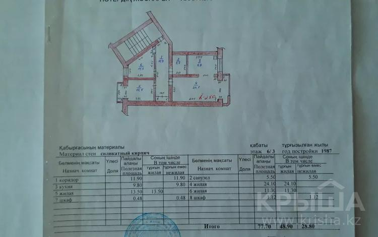 3-комнатная квартира, 77.7 м², 3/6 этаж, 11-й мкр. 51 — Нагашбай Шайкенова за 14.9 млн 〒 в Актобе, мкр 11