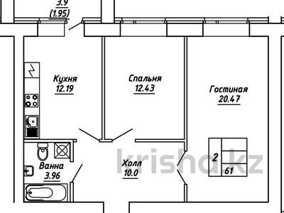 2-комнатная квартира, 61 м², 10/10 этаж, Айтматова — Мухамедханова за 17.7 млн 〒 в Нур-Султане (Астана), Есиль р-н